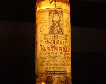 Repurposed Old RIP Van Winkle Bourbon Whiskey Bottle Light / Pappy Van Winkle lamp / Remote Controlled / Rare Bourbon -Buffalo Trace