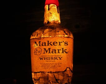 Repurposed Makers Mark Bourbon Bottle Light/LED Ambient Remote Controlled