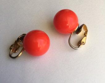 Vintage Orange Clip On Earrings