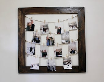 Rustic Clothespin Picture Frame / Photo Display - Wedding Display - Clothesline Collage - Includes line and small pins