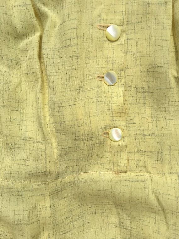 40's rayon pale yellow shirt dress with matching … - image 6