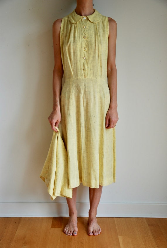 40's rayon pale yellow shirt dress with matching b
