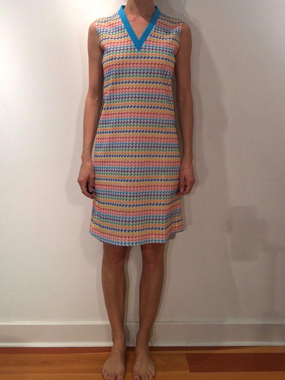 60s Rainbow Super Cute Pride Mini Dress - image 1
