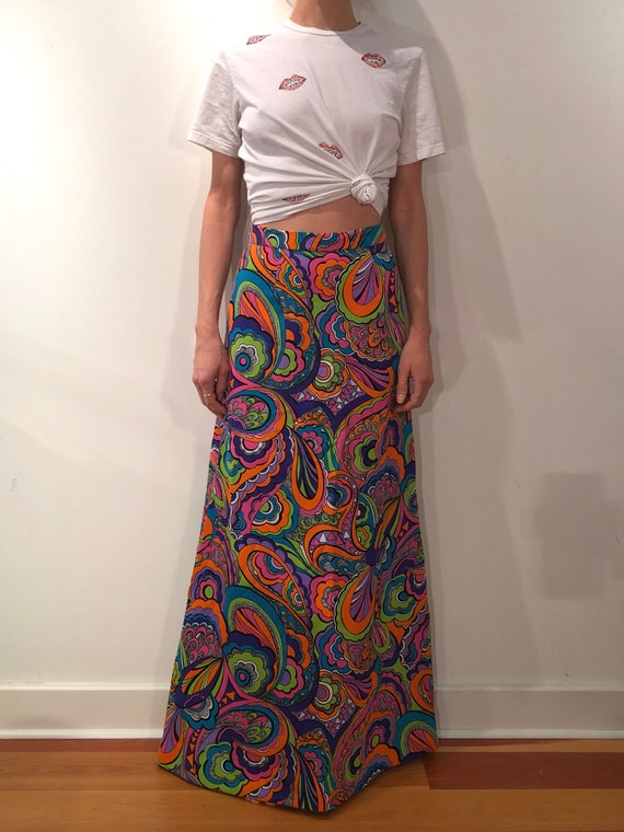 70s Psychedelic Neon Colors Poly Maxi Skirt - image 4