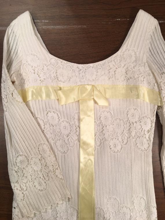 60s White Lace Mini Dress Boho Hippy Wedding XS - image 5