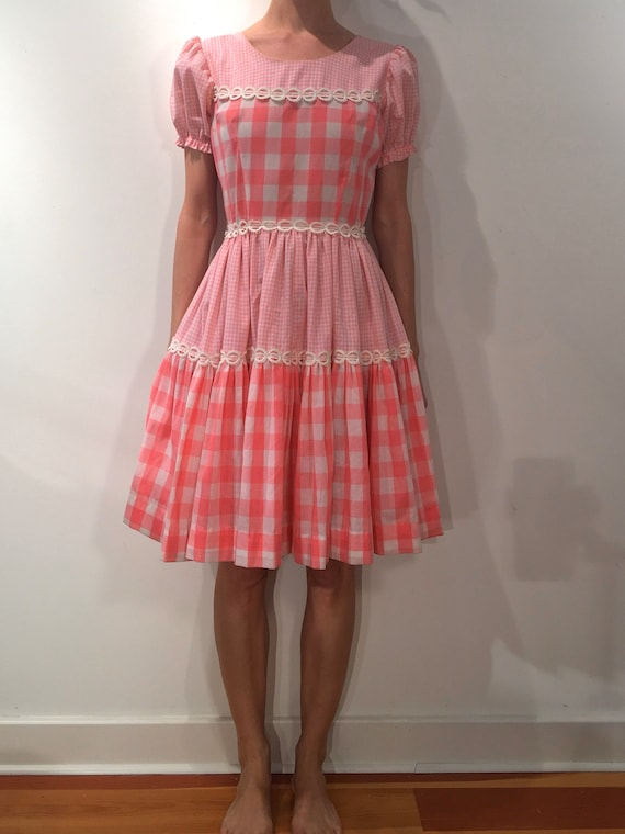 70s Pink Check Prairie Dress With Full Skirt And L