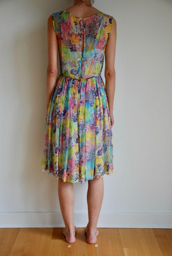 50's silk sheer chiffon romantic floral pretty ga… - image 3