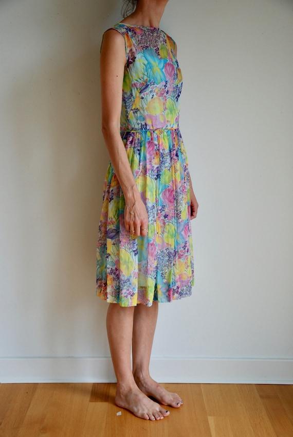 50's silk sheer chiffon romantic floral pretty ga… - image 2