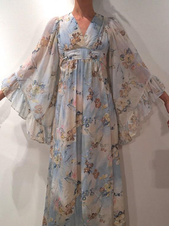 70s Giant Bell Sleeve Sheer Boho Maxi Dress Romant