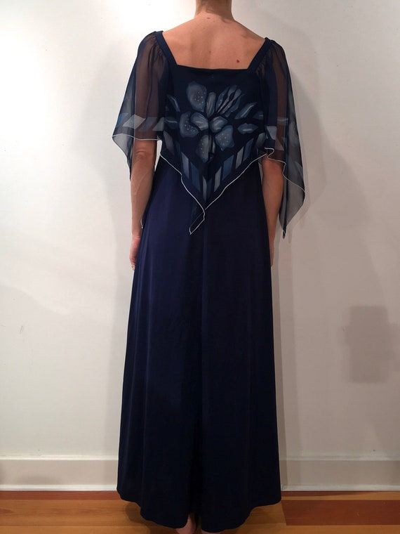 70s Flutter Sleeve Disco Studio 54 Maxi Dress - image 3