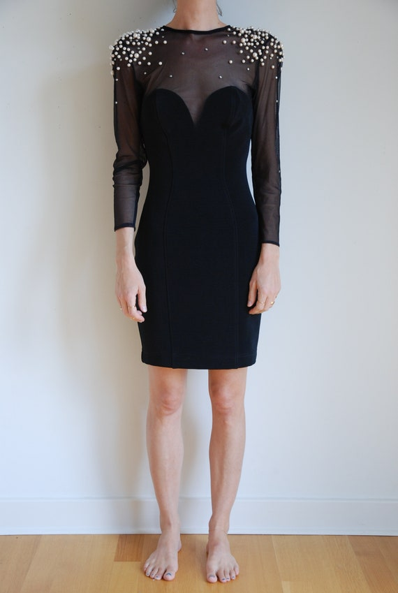 80s Sexy Body Con Little Black Dress With Pearls And Etsy