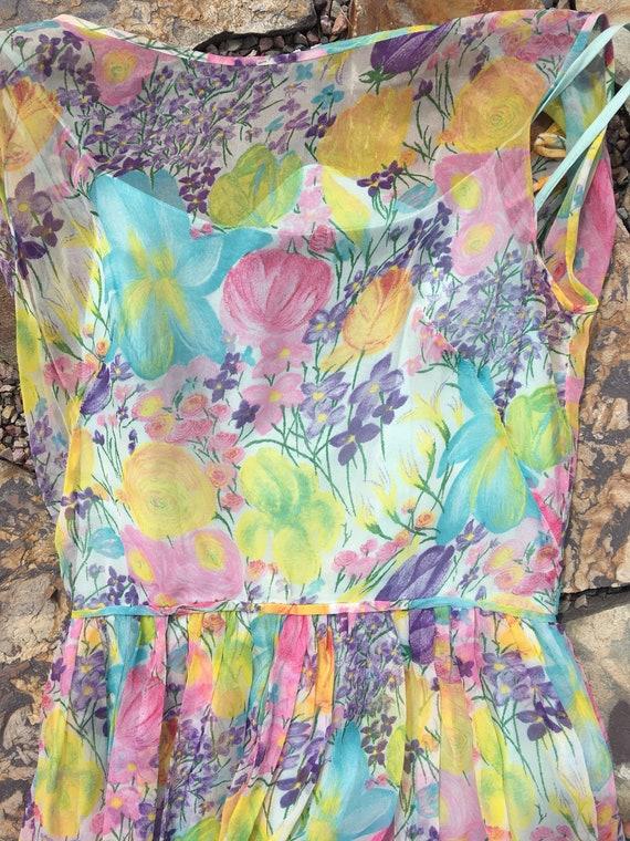 50's silk sheer chiffon romantic floral pretty ga… - image 4