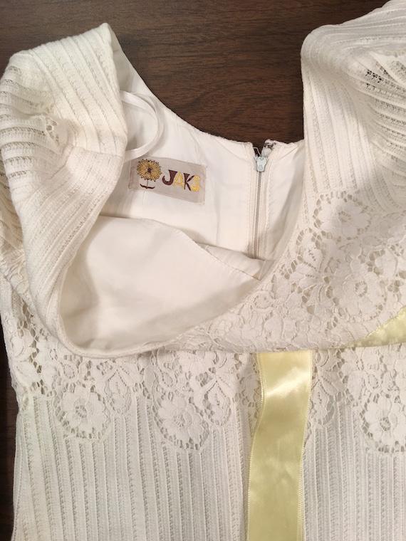 60s White Lace Mini Dress Boho Hippy Wedding XS - image 6