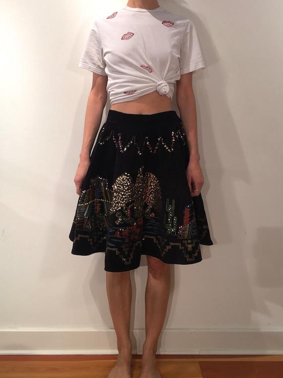 1950s Mexican Circle Skirt Black Velvet Souvenir H