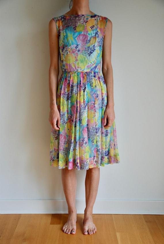 50's silk sheer chiffon romantic floral pretty ga… - image 1