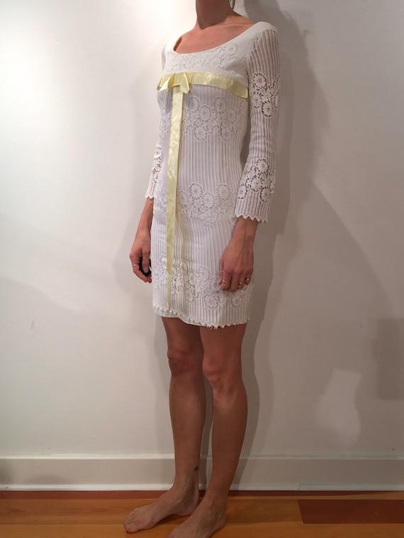 60s White Lace Mini Dress Boho Hippy Wedding XS - image 2