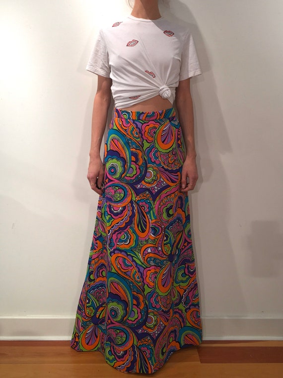 70s Psychedelic Neon Colors Poly Maxi Skirt