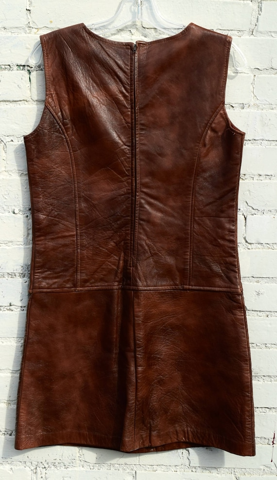 60s leather mini dress / boho hippy festival - image 4