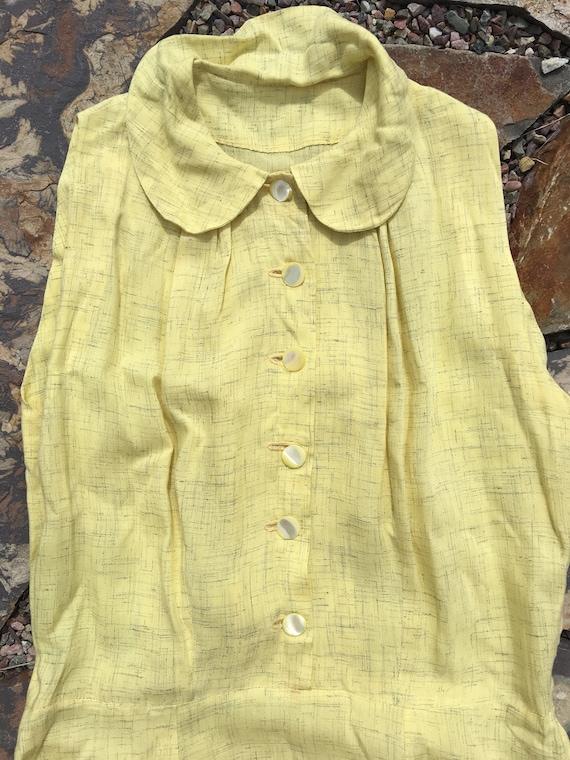 40's rayon pale yellow shirt dress with matching … - image 5