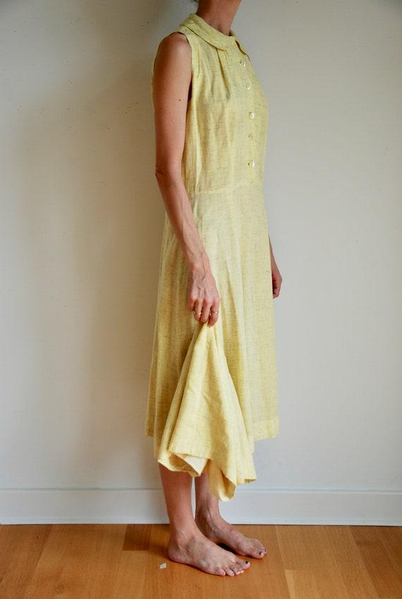 40's rayon pale yellow shirt dress with matching … - image 3