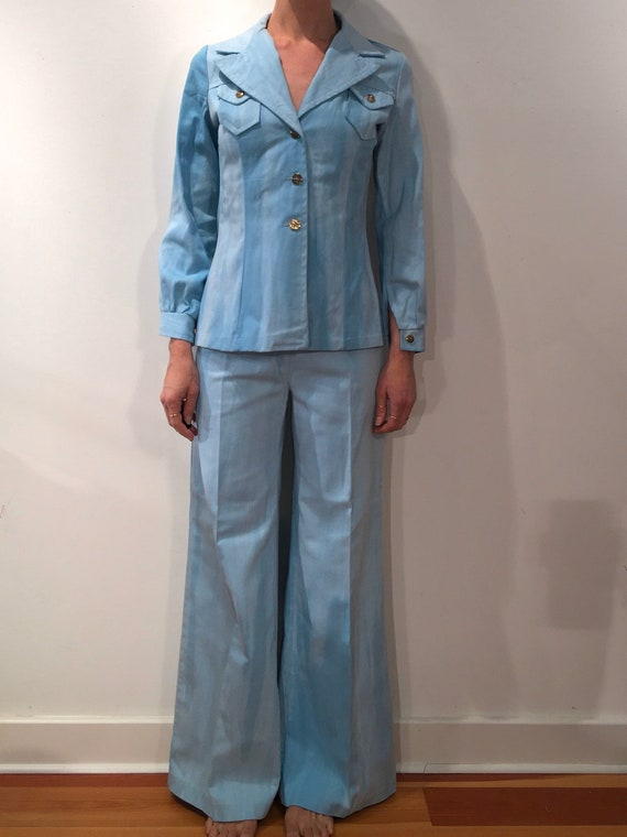 70s Tie Dye Ombre Blue White Bell Bottoms And Jack