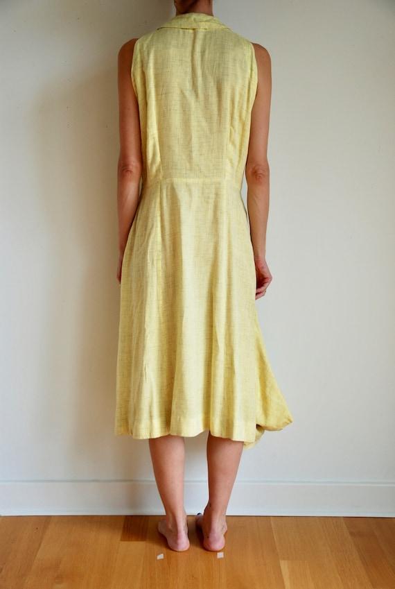 40's rayon pale yellow shirt dress with matching … - image 4