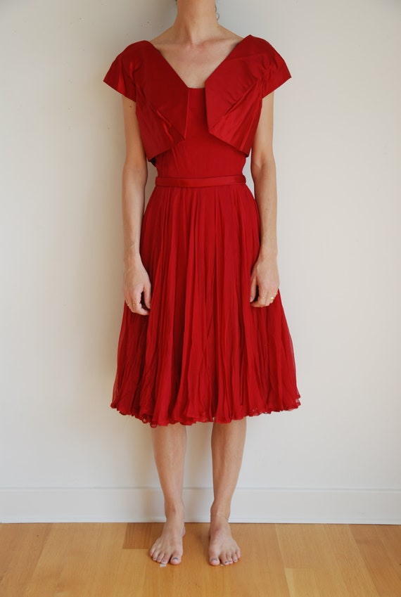 50's red silk chiffon party dress with silk satin jacket and sheer full skirt