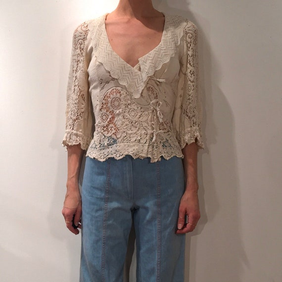 70s Cotton Crochet Boho Hippy Romantic Peasant Poe