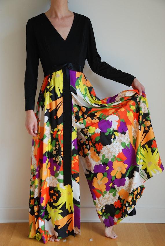 70s palazzo pants jumpsuit amazing multi colored … - image 1
