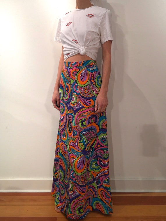 70s Psychedelic Neon Colors Poly Maxi Skirt - image 3