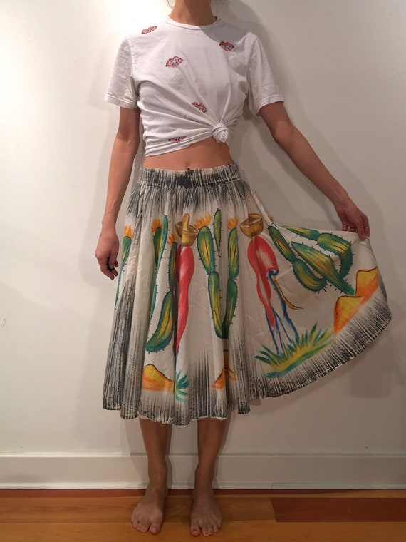 50s Hand Painted Mexican Cotton Circle Skirt Cactu