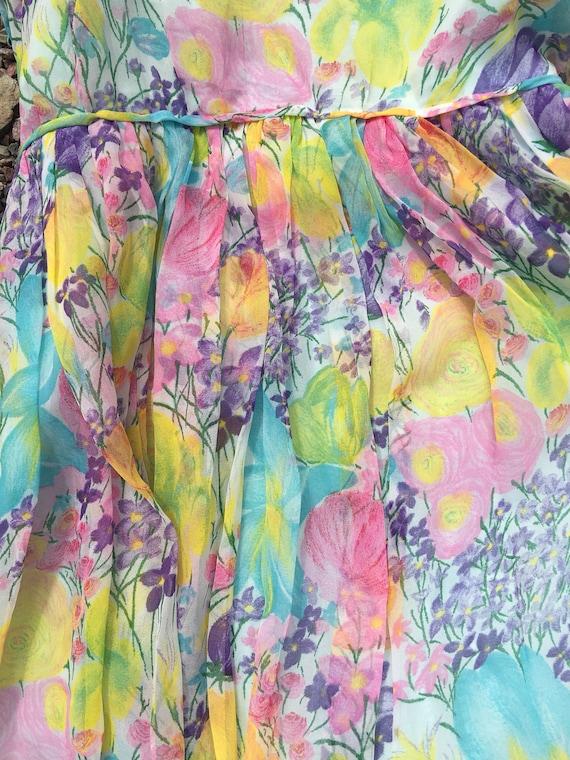 50's silk sheer chiffon romantic floral pretty ga… - image 5