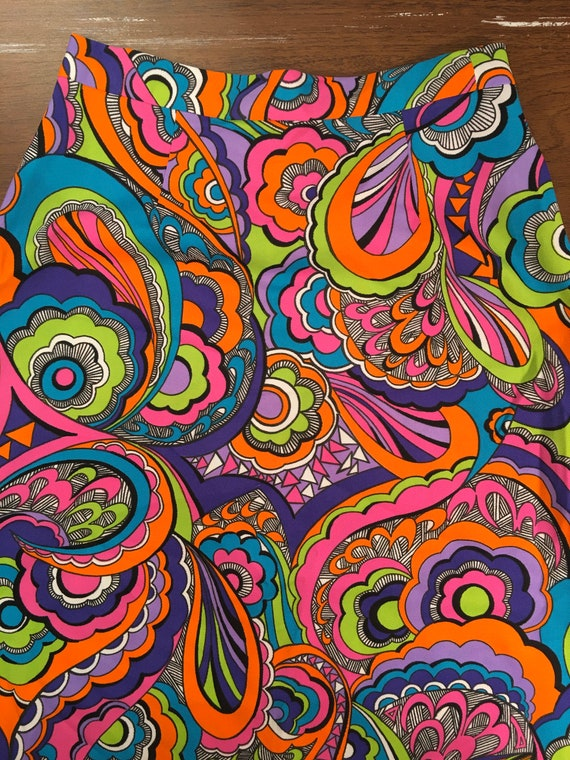 70s Psychedelic Neon Colors Poly Maxi Skirt - image 5