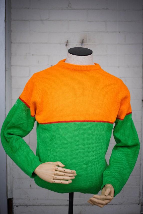 60s Men's Sweater in Bright Green and Orange