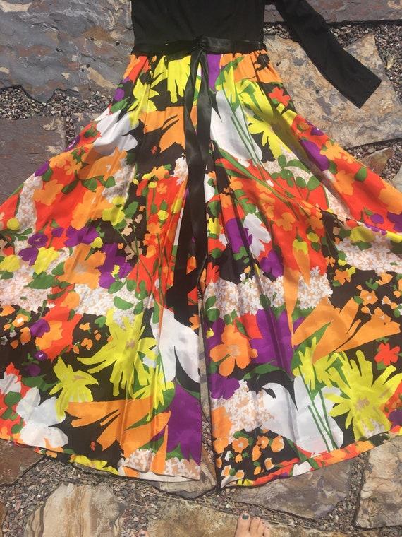 70s palazzo pants jumpsuit amazing multi colored … - image 5