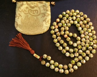Olive and Mother of Pearl Mala