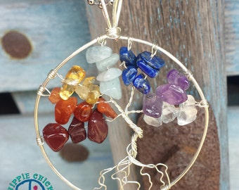 Chakra Wire-Wrapped Tree of Life Pendant