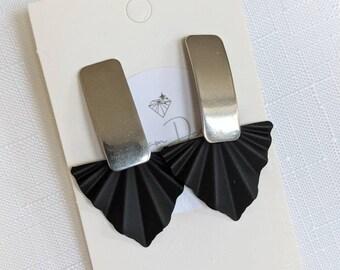 Fan Stainless Steel Earrings, Statement Earrings, art deco earrings, Statement Silver Earrings, Black Earrings , Modern Earrings, Gold