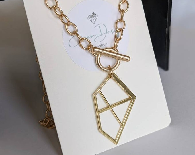 Featured listing image: Geometric Gold necklace, gold chain, art deco gold necklace, gold jewellery, gold layer necklace, Chain Necklace, Chunky Link Necklace