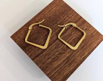 Diamond shaped hoop, earring trend 2021, Geometric hoops, Gold medium hoops, Hoop Earrings, Stainless steel hoops, Golden earrings