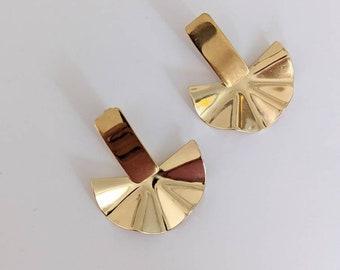 Abstract fan earring, Art deco earring, Stainless Steel Earrings, Statement Earrings, Statement Gold Earrings , Geometric Earrings, Gold