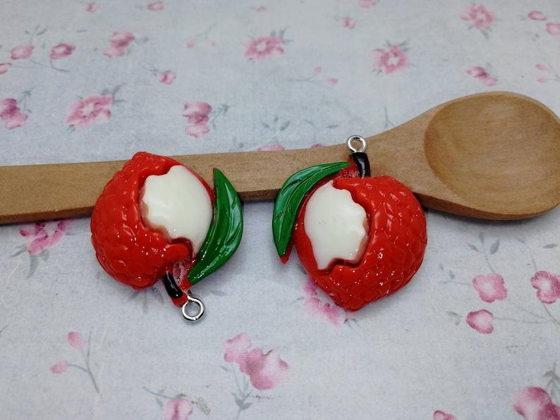 12pcs plastic litchi fruit pendant charm kawaii resin acrylic handmade craft jewelry making DIY finding necklace earring decoration ZP285