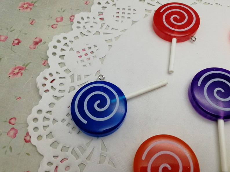 kawaii cute resin acrylic handmade jewelry making finding necklace earring decoration ZP45 12pcs 56x30mm plastic lollipop pendant charm