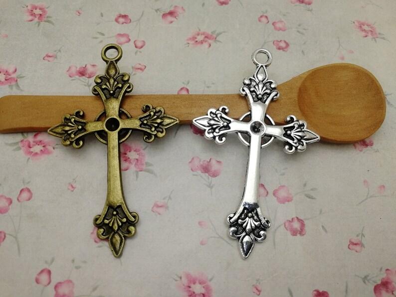 10pcs 68x41mm metal cross charm ZM679 handmade craft DIY finding earring necklace drop pendant antique bronze silver color