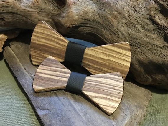 Natural Wooden Bowtie Men/'s Wedding Zebra Wood Lapel Necktie Engagement Bow Tie