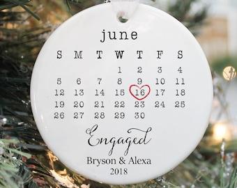 Engaged Ornament- Engagement Ornament- Engagement Gift- Custom Ornament-Engagement Announcement- Couples Ornament-