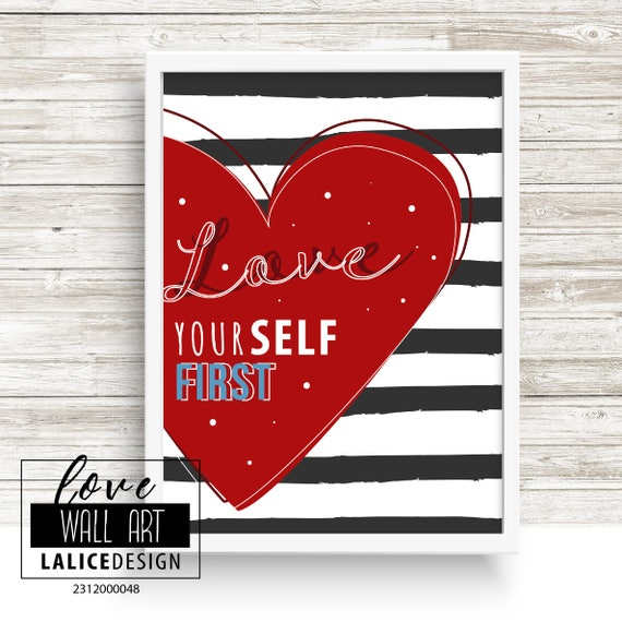 Love Yourself First Quote Nursery Printable Wall Art Black Etsy