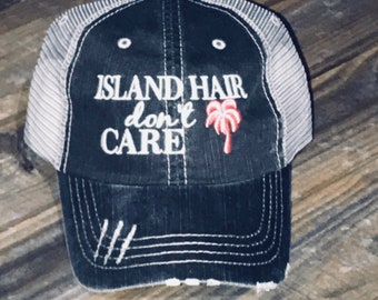 399ea65517f7c Island Hair Don t Care Hat with Palm Tree Color of your Choice