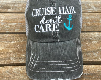 Cruise Hair Don t Care Trucker Hat with Anchor Color of Your Choice 7ffdeb0c31ee
