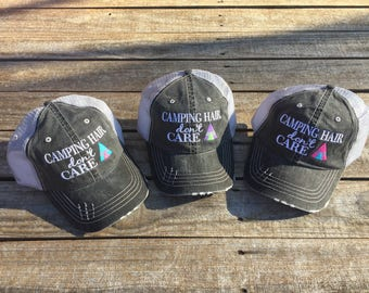 a0655e4aa4b Camping Hair Don t Care Trucker Hat with Teepee